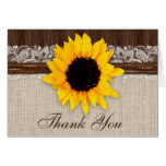 Rustic Country Sunflower Wedding Thank You Card