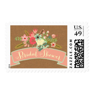 Rustic Flowers | Bridal Shower Postage Stamps