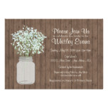 Rustic Mason Jar Bridal Shower Invitation on Wood