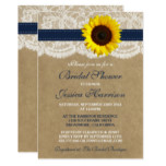 Rustic Sunflower, Kraft & Lace Bridal Shower Card