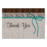 Rustic Turquoise Wedding Thank You Card