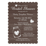 Rustic wood mason jar bridal shower invitations