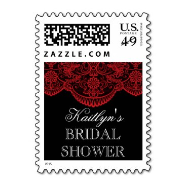 Sheer Red Lace Bridal Shower Stamp