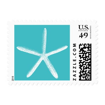 Simple Tiffany Blue Starfish Wedding Stamps