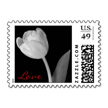 Small Black and white Tulip, Love Stamp