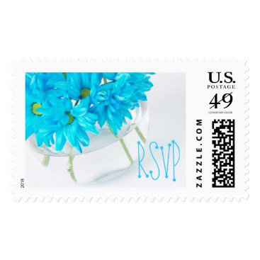 Summery Aqua Daisy Party Invitation RSVP Stamps