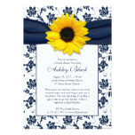 Sunflower Navy Damask Bridal Shower Invitation