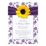 Sunflower Purple Damask Bridal Shower Invitation