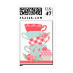 Tea Cups and Roses Stamp