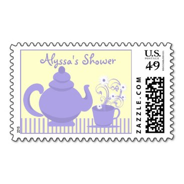 Tea Party Bridal Shower Purple and Yellow Postage
