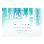 Teal Blue Watercolor Wash Bridal Shower Invitation