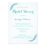 Teal feather bridal shower invitations