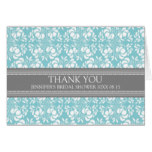 Teal Gray Damask Bridal Shower Thank You Card