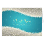 Thank You Bridesmaid Dazzling Sparkles Turquoise Card