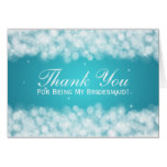 Thank You Bridesmaid Party Sparkle Turquoise Card