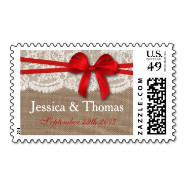 The Rustic Red Bow Wedding Collection Postage