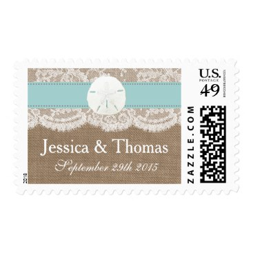 The Turquoise Sand Dollar Beach Wedding Collection Postage Stamps