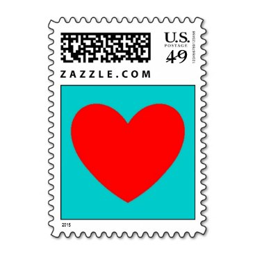 Turquoise and Red Heart Stamp