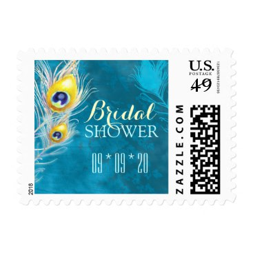 Turquoise Blue Peacock Theme Bridal Shower Postage
