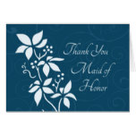 Turquoise Flowers Thank You Maid of Honor Card