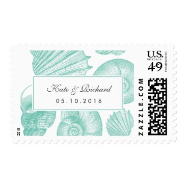Turquoise Seashell Wedding Invite Postage Stamp