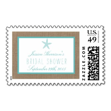 Turquoise Starfish Beach Bridal Shower Postage