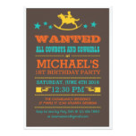 Vintage Wanted Western Cowboy Birthday Invitation