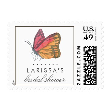Watercolor Butterfly Red Bridal Shower Stamps