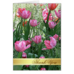 Watercolor Pink Tulips Thank You Card