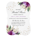 Watercolor Purple Gold Flower Bridal Shower Invite