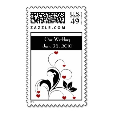 Wedding Postage - Black w/Red Hearts