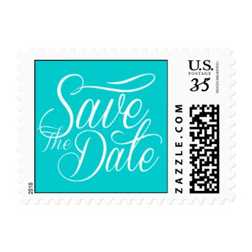 Weddings Cute Save The Date Style Dark Turquoise Stamp