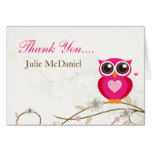 Whimsical Pink Owl Thank You Cards