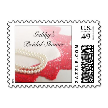 White Pearls and Red Lace Bridal Shower Postage