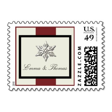 Winter Wedding Stamps in Red and Cream