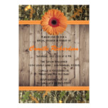 Wooden and Orange Daisy Bridal Shower Invitation