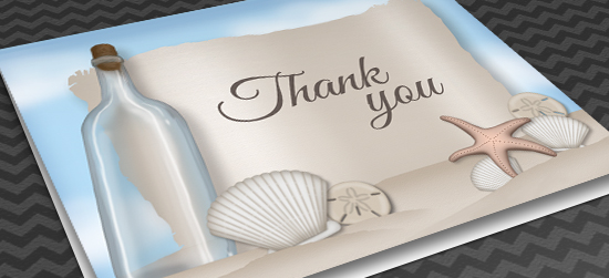 Beach Thank You Cards - Message from a Bottle
