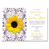 bridal shower invitation yellow sunflower purple floral