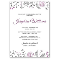 Elegant bridal shower invitation with nature doodle borders - purple