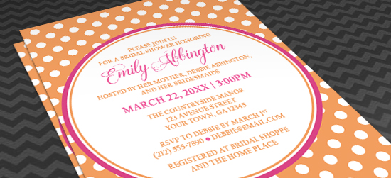 Orange Bridal Shower Invitations - Orange Polka Dot Pink