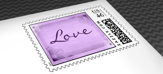 purple bridal shower postage stamps
