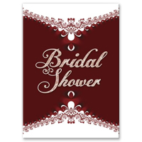 Royal Red White Lace Bridal Shower Invitation