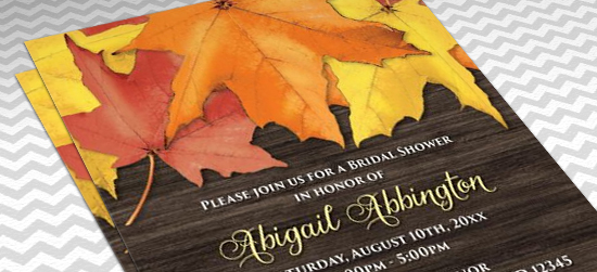Rustic Autumn Leaves and Wood Bridal Shower Invitations - layout perspective