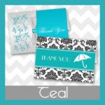 Turquoise and Teal Thank You Cards