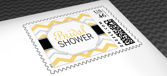 Yellow Bridal Shower Postage Stamps