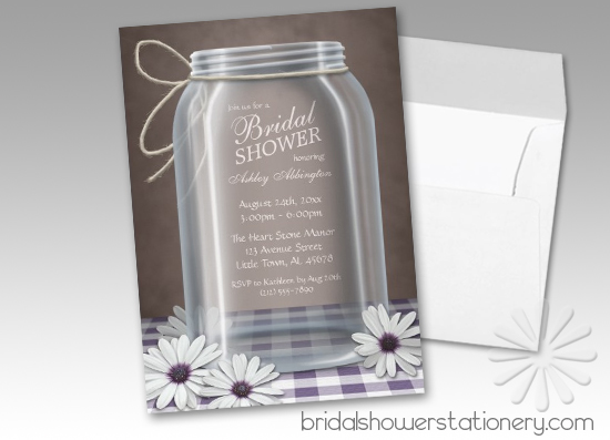 Country Mason Jar Purple Gingham Bridal Shower Invitations