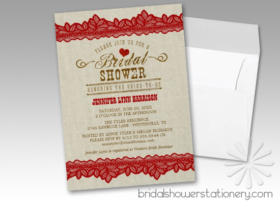 Rustic Burlap & Red Lace Bridal Shower Invitations