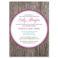 Bridal Shower Invitations - Fuchsia Pink Turquoise Rustic Wood