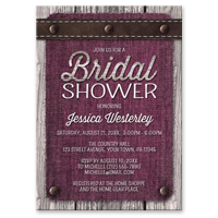 Bridal Shower Invitations - Pink Denim Wood Leather Rustic