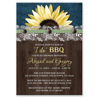 Couples Shower or Bridal Shower Invitations - Sunflower Denim Wood Lace I Do BBQ